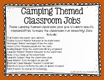 Camping Themed Classroom Jobs