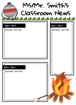 Camping Themed Classroom Newsletter