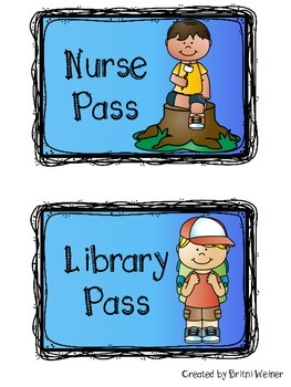 Camping Themed Classroom Passes