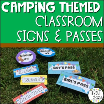 Camping Themed Classroom Signs, Hall Passes and Decor