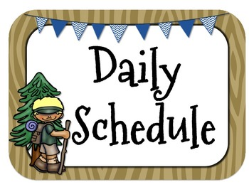 Camping Themed Daily Schedule-Analog l Digital