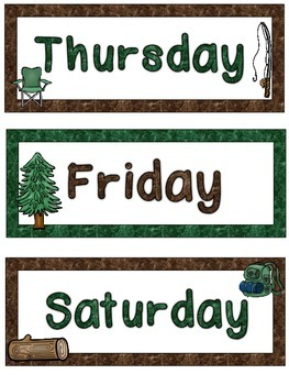 Camping Themed Days of the Week