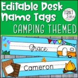 Editable Desk Name Tags Camping Themed