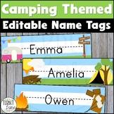 Camping Theme Classroom Decor Editable Name Plates