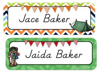 Camping Themed Desk Tags and Name Plates {EDITABLE}