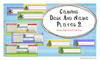 Camping Themed Desk and Name Plates With Cursive
