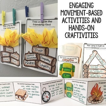 Camping Themed Elementary School Counseling Classroom Guidance Lessons Bundle