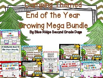 Camping Themed End Of The Year Activities, Awards, and More Growing Megabundle