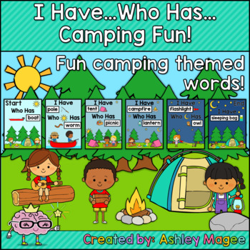 Camping Themed I Have Who has Game with Camping Words