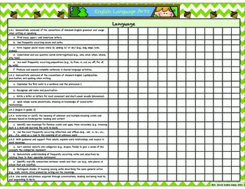 Camping Themed Kindergarten Common Core State Standards Checklists