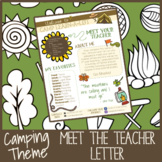 Camping Themed Meet the Teacher Letter - EDITABLE