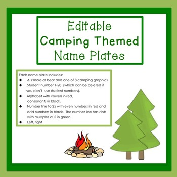 Camping Themed Name Plate (editable)