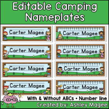 Camping Themed Editable Name plates / Desk Plates / Name Tags