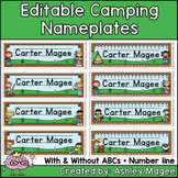 Camping Themed Editable Name plates / Desk Plates / Name Tags