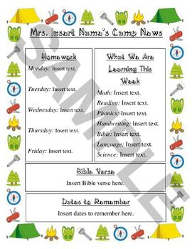Camping-Themed Newsletter (EDITABLE!)