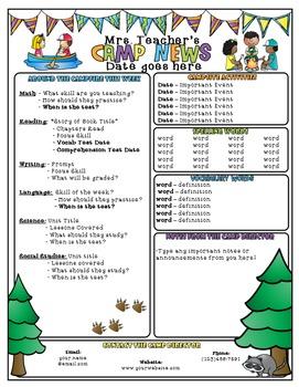 Camping Themed Newsletter - Editable