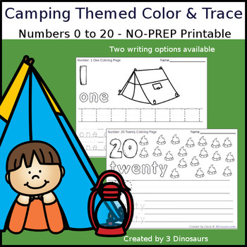 Camping Themed Number Color and Trace