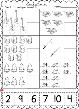 Camping Themed Numbers Cut and Paste Worksheets (1-20):