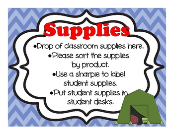 Camping Themed Open House, Back To School, Or Meet The Teacher Sign Kit