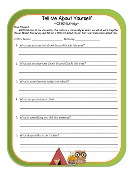 Camping Themed Parent Survey, Student Survey, and Gift Tag Set