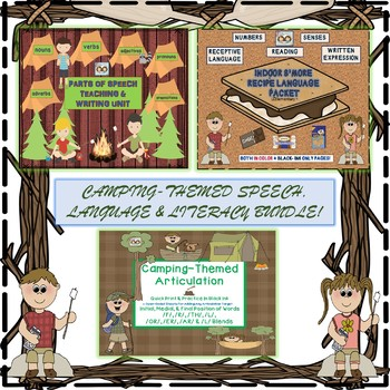 Camping-Themed Parts of Speech, Articulation & Language Bundle