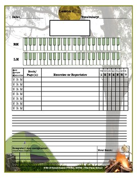 Camping Themed Piano Lesson Assignment Sheet *SUMMER LESSONS*