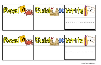 Beach Themed Read It, Build It, and Write It Mats