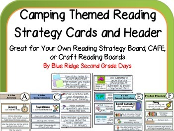 Camping Themed Reading Strategy Cards-Make Your Own Strate