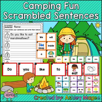 Camping Themed Scrambled Sentences Center