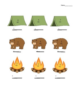 Camping Themed Single Digit Addition