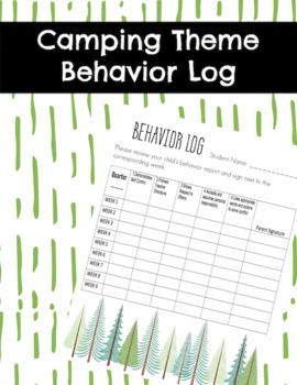 Camping Theme Student Behavior Log Student Behavior Chart