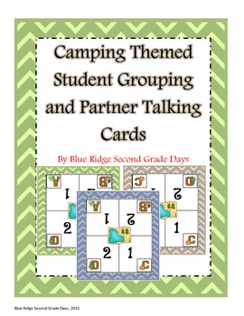 Camping Themed Student Grouping Cards and Partner Talking Cards