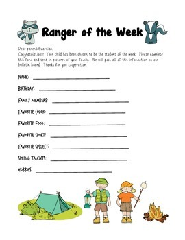 Camping Themed Student of the Week