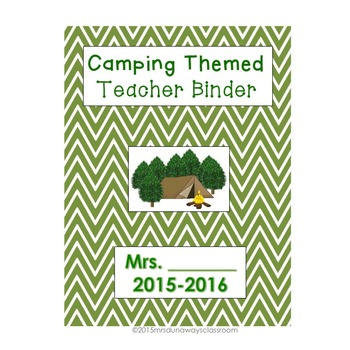 Camping Themed Teacher Binder (EDITABLE)