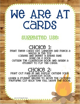 "Camping Themed ""Where We Are"" Cards"