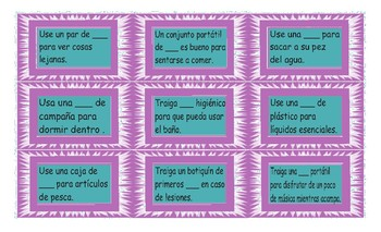 Camping Things and Activities Spanish Card Game