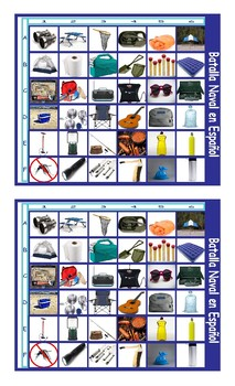 Camping Things and Activities Spanish Legal Size Photo Battleship Game
