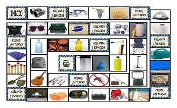 Camping Things and Activities Spanish Legal Size Photo Board Game