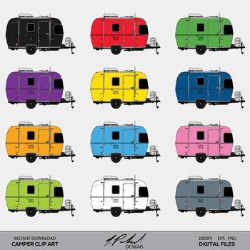 Camping Trailer - Camper - Travel Trailer Clip Art