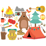 Camping - Travel - Clipart & Vector Set - Instant Download