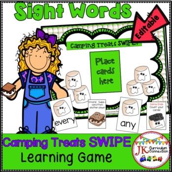 Sight Word Literacy Game - Camping Treats SWIPE {EDITABLE}