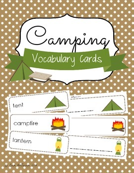 Camping Vocabulary Cards and Spelling Practice