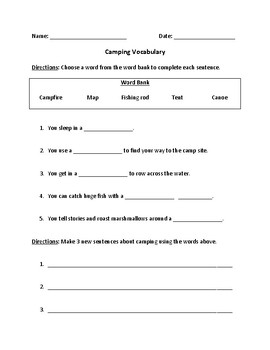 Camping Vocabulary Fill-In