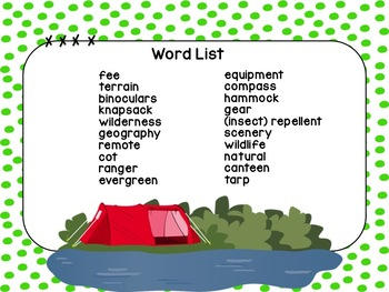 Camping Vocabulary Task Cards