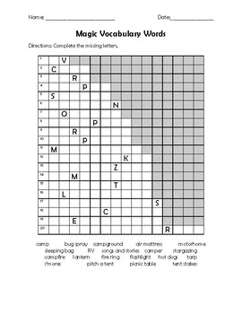 Camping Word Search and Activities