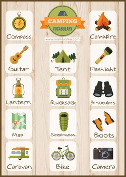 Camping Vocabulary poster