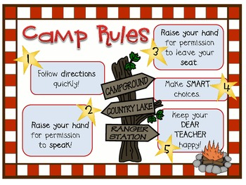 Camping Whole Brain Teaching Rules and Posters
