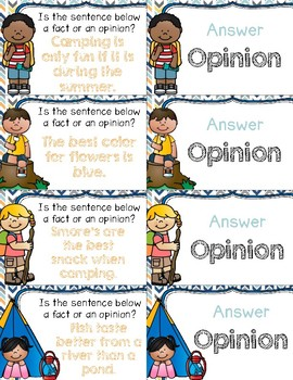 Camping With Fact & Opinion ~ Quiz-Quiz-Trade Cards