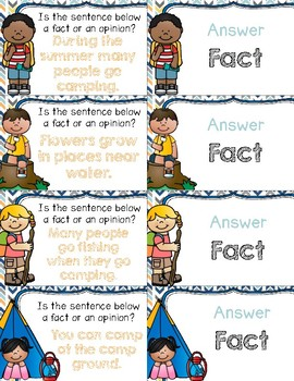 Camping With Fact & Opinion ~ Quiz-Quiz-Trade Cards ~