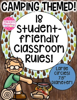 Camping, Woodlands, Outdoor Themed Colorful Classroom Rules! 18!